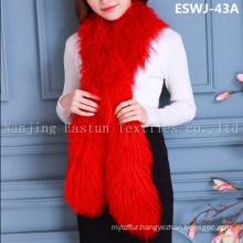 Long Pile Natural Mongolian Fur Scarf Eswj-43A