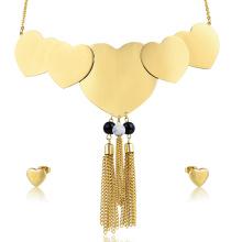 Statement Heart Shape Quaste Halskette Saudi Gold Schmuck-Set