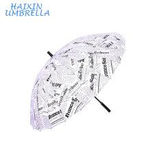 Boa Qualidade Moda Japonesa Auto Aberto Em Linha Reta Jornal Imprimir Guarda-chuva Longo 16 Costelas com Alça De Espuma para a Promoção Cenário