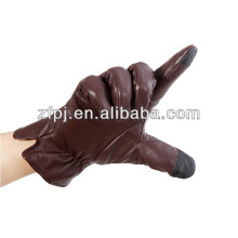 Smartphone touch screen leather glove with high quality sheepskin leather