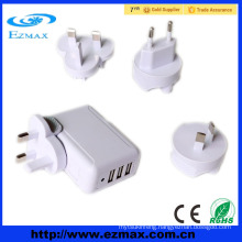 4 plugs 3 port universal usb charger adapter