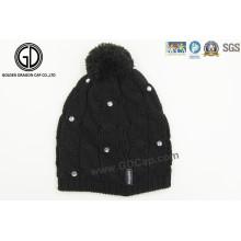 2016 Art und Weise Rhinestone-großer Winter-warmer tägliche Beanie strickte Hut