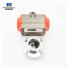 Válvula de mariposa neumática de acero inoxidable ss304 / 316l de triple abrazadera con actuador de simple efecto