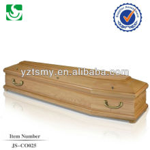 traditional larch coffin with golden handles