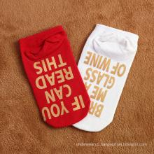 Custom hot stamping anti-foul funny letter ankle socks knitted for women