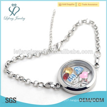 Wholesale magnetic women silver stainless steel floating locket bracelet jewelry