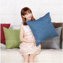 Solid Bed Sofá almohada almohada de cintura Retro algodón almohada de lino