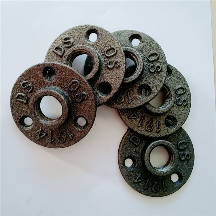 Black cast iron pipe fitting handail iron flange