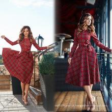 Verificações vermelhas Long Sleeve Womens Popular Swing Vestidos Retro