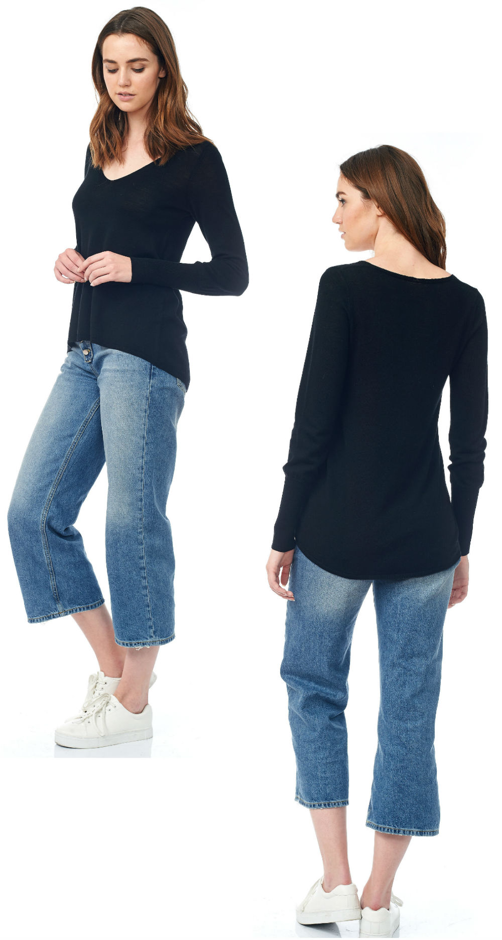 black v neck semi sheer pullover