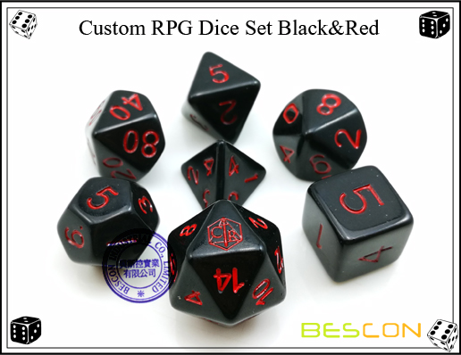 Custom RPG Dice Set Black&Red-2