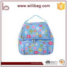 2 Layers Flowery Pattern Insulated Lunch Bag Polyester Cooler Bag