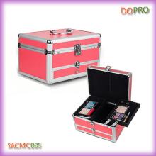 Розовый портативный макияж Коробка косметический красоты с ящиком (SACMC005)