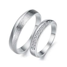 Conjuntos de anillos de bodas de platino, anillos de pareja a juego para el compromiso