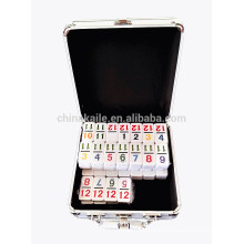 Double 12 Digit Plastic Dominoes In Aluminum Box For Sale