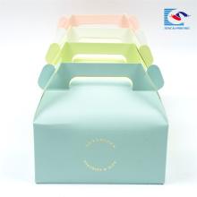 Stamping logo billig lebensmittelqualität papier kuchen box mit griff