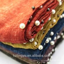 новый дизайн топ продавец напечатано женщин длинный мусульманский шарф шаль марка мусульманские женщины хиджаб шарф хлопка перлы