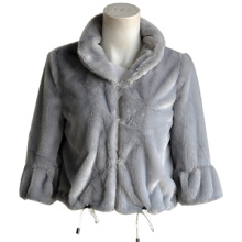 Fake Fur Jacket with Hook and Eye in Front