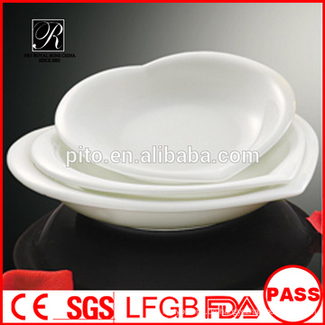 Porzellan herzförmige Platte, Porzellan-Suppenteller, täglicher Gebrauch weißes Porzellan herzförmige Teller für Hotel