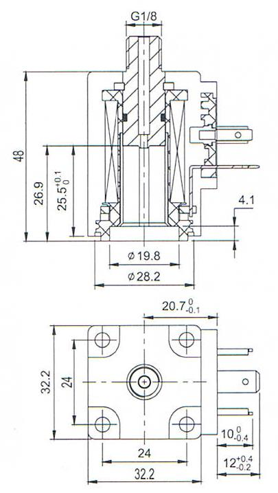 Overall dimension of AC220V/24VDC 0400 piston solenoid valve coils