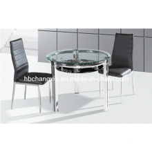 Stainless Steel Round Dining Table with Chair