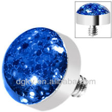 Blue Glitter Dome Dermal Top body jewelry