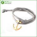 Wholesale various colors men anchor rope bracelet