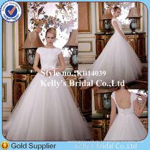 KB14039 Elegantes Brautkleid Special Bodice Design Cap Ärmel A-Linie Perlen Schöne Brautkleider Uk