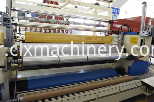 Automatic loading paper core & unloading finished film system