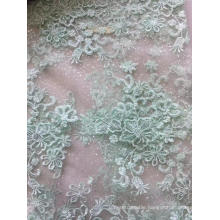 Tulle Mesh Flat Embroidery Fabric with Glitter