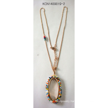 Colorful Beads Necklace with Metal Fashion Jewelry