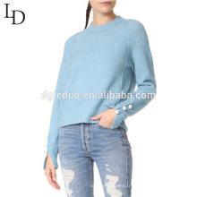 Nouvelle conception fille personnalisée couleur pure tricot chandails en laine conceptions pour les dames
