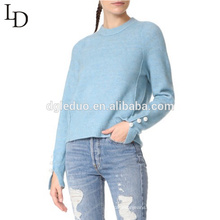 New design girl custom pure colour knit woolen sweater designs for ladies