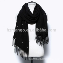 Best seller acrylic pashmina winter shawls with pearls