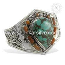 Perseverante coral e turquesa gemstone bracelete de prata 925 prata esterlina joalheria jóias atacadista