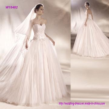 Vestido de boda sin tirantes del vestido de bola de Tulle de la blusa con la pretina de la flor