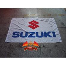 gelbe suzuki banner weiße suzuki flagge 90x150cm Suzuki Motorradfahrer Biker Schädel Flagge für Dekoration