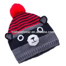 Gorra de punto de alta calidad con Ball Pompom & Orejas, sombrero de invierno Beanie Hat