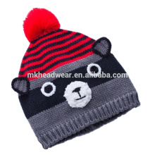 Высокое качество Трикотажная шапочка с шаром помпоном и ушами, зимняя шапочка для девочек