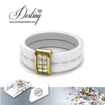 Destino joyas cristales Swarovski cerámica anillo de