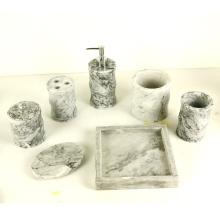 Ensemble d'accessoires de salle de bains en marbre - Gobelet, porte-savon, distributeur de savon liquide, brosse à dents