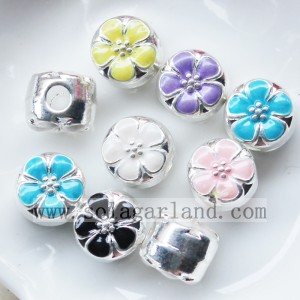 Fashional Silver With Color Oil Drop Flower Chunky Metal Beads Charms