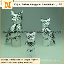 Elektroschlauch Keramik Eule Figur Skulptur
