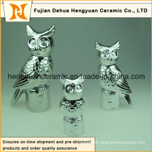 Electroplate Ceramic Owl Figurine Sculpture