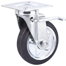 Japanese Style Locking Soft Rubber on Steel 6 Wheel Industrial Castor