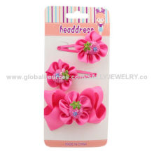 Beautiful Children's Hair Accessories, Made of Ribbon, Plastic Accessories/Iron Pin