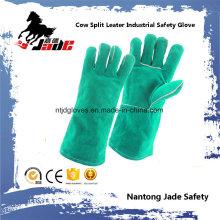 Green Cowhide Split Leather Industrial Safety Soldagem Luva de trabalho à mão