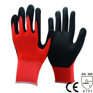 NMSAFETY 13 gauge red polyester liner coated black sandy nitrile good girp work safety glove