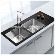 Fregadero de cocina de acero inoxidable superior de vidrio, fregadero de cocina de vidrio templado de acero inoxidable con tablero de drenaje