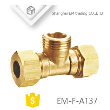 EM-F-A137 NPT rosca tipo Tee encaixe de tubulação de latão com duplo conector rápido